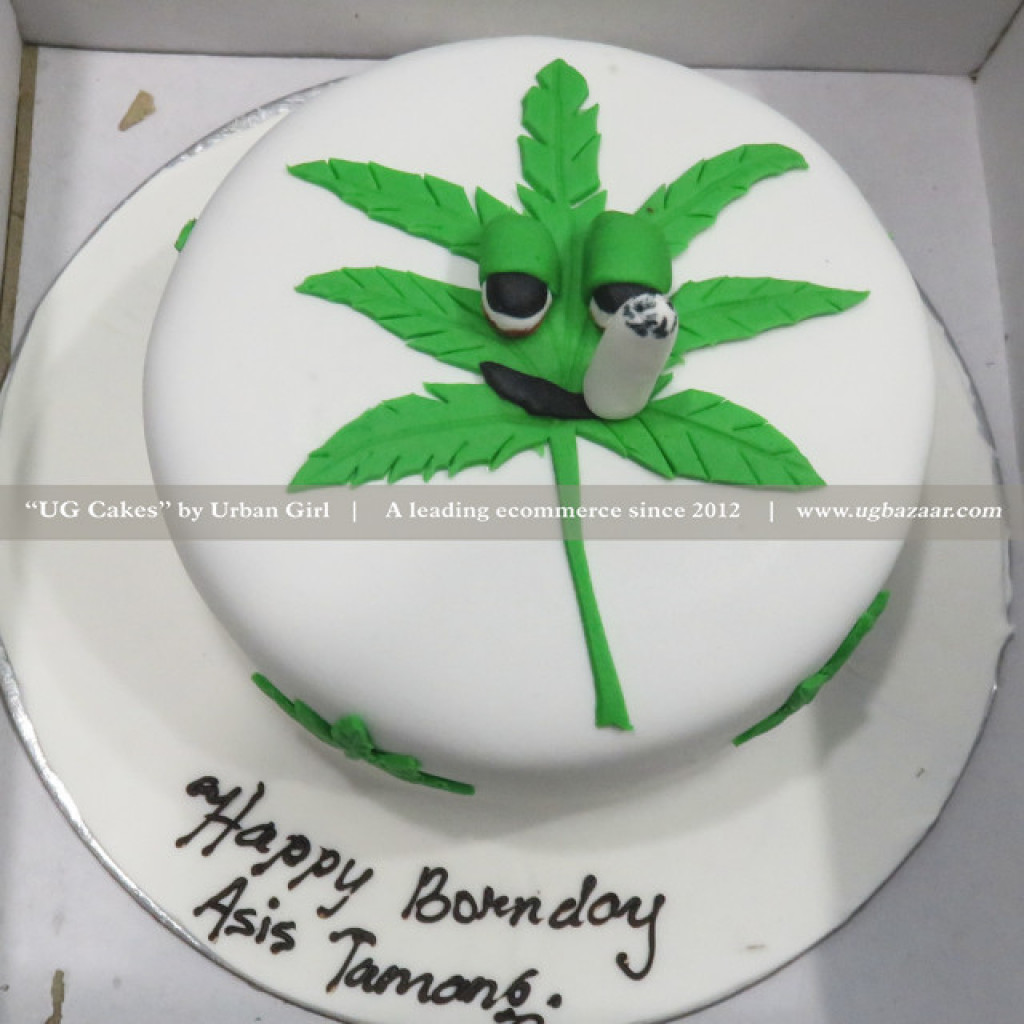 Strange Marijuana Designed Cake Personalised Birthday Cards Veneteletsinfo