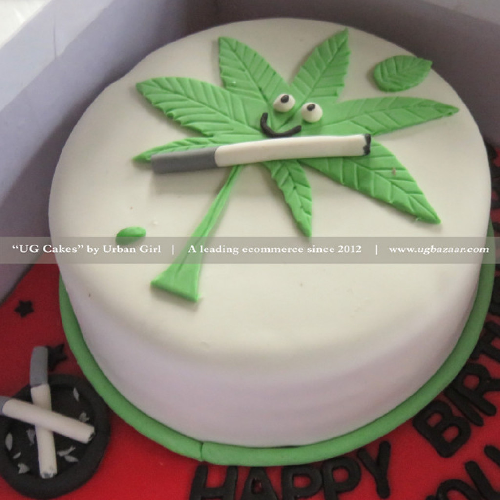 Excellent Marijuana With Smoke Designed Cake Funny Birthday Cards Online Alyptdamsfinfo
