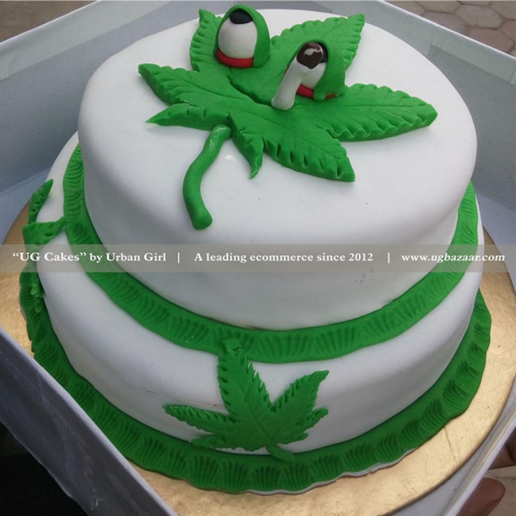 Swell Double Deck Marijuana Designed Cake Funny Birthday Cards Online Overcheapnameinfo