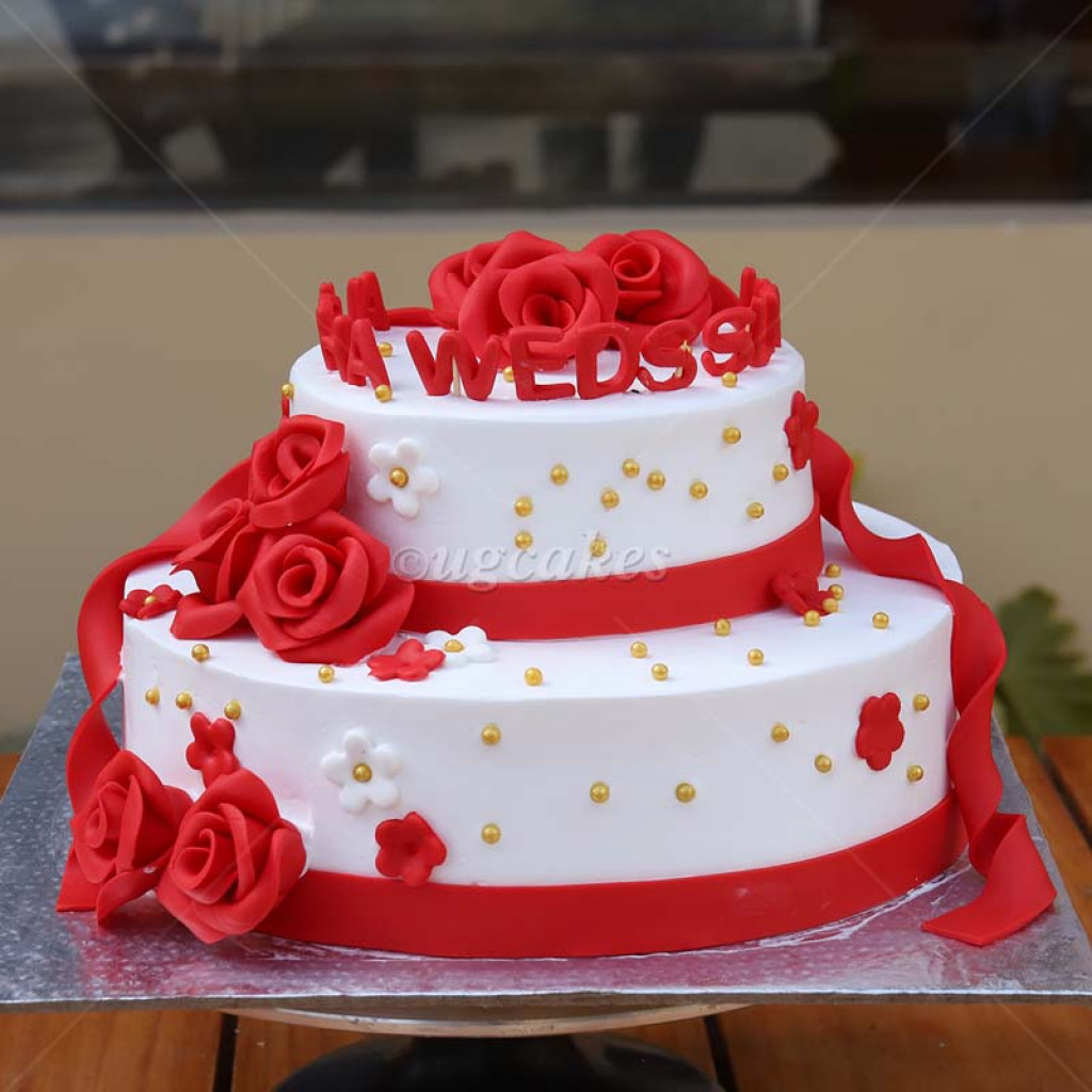 White And Red Double Decker Anniversary Cake