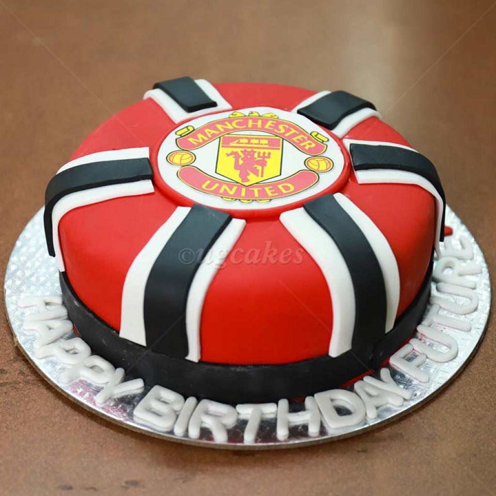 Astonishing Manchester Uniteds Logo Printed Cake Birthday Cards Printable Nowaargucafe Filternl