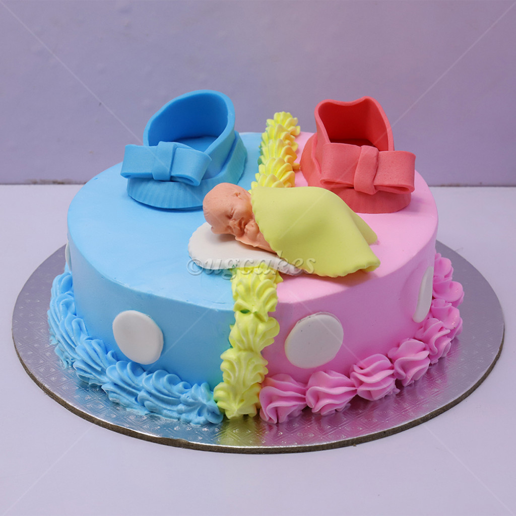 Non Fondant Baby Shower Cake With Fondant Shoes And Baby