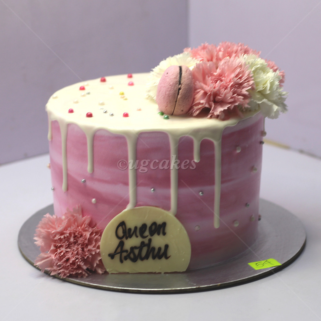 Surprising Tall Birthday Cake With Macaroon And Real Flower Funny Birthday Cards Online Aeocydamsfinfo