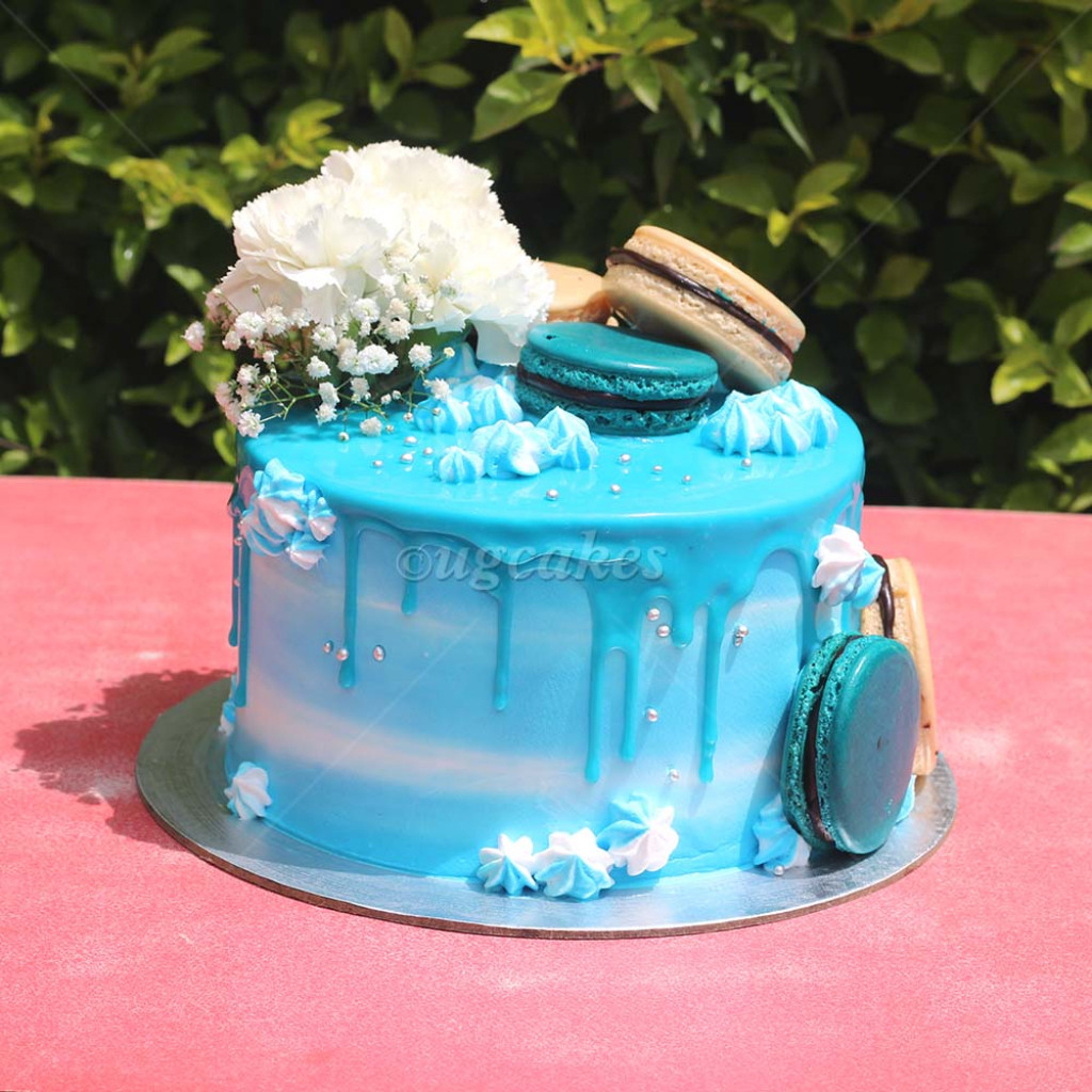 Cool Tall Birthday Cake With Macaroon And Real Flower Funny Birthday Cards Online Barepcheapnameinfo