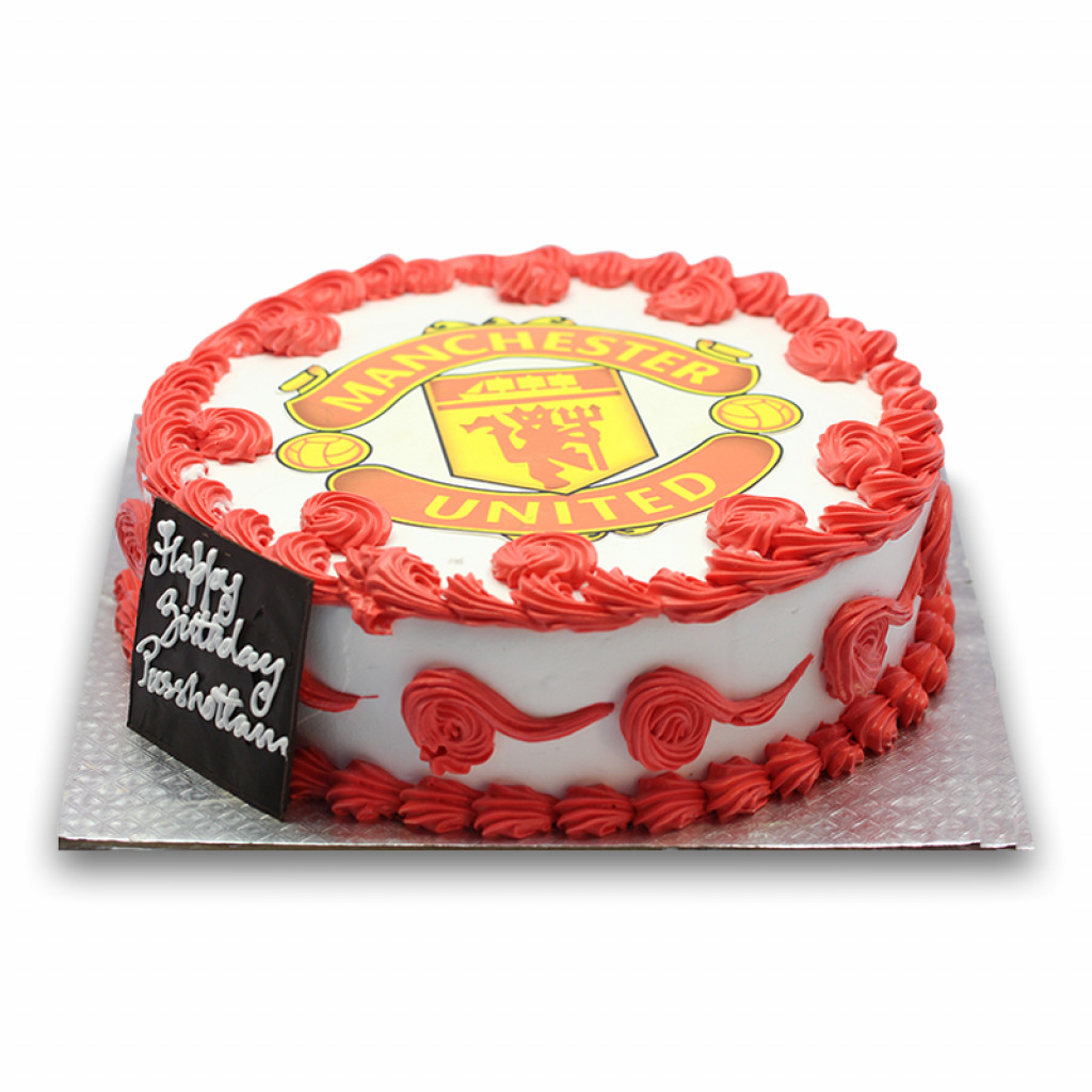 Terrific Cake With Manchester United Logo Birthday Cards Printable Nowaargucafe Filternl