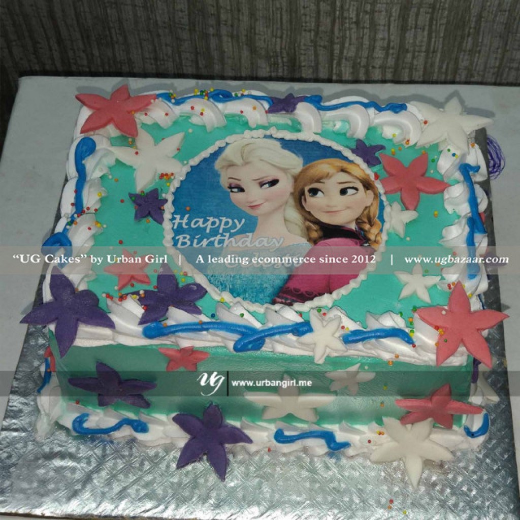 Pleasant Decorated Frozen Themed Cake Funny Birthday Cards Online Alyptdamsfinfo